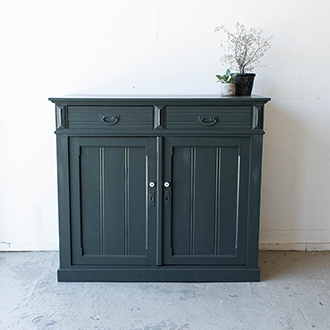 2189   Brede Donkergroene Commode 6   Firma Zoethout