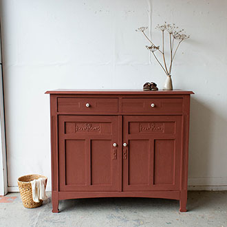 2208   Karmozijnrode Vintage Commode 6   Firma Zoethout