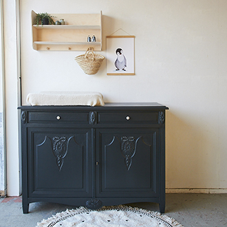 2282 - Off black vintage commode - Firma zoethout